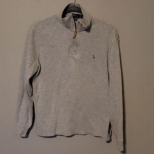 Men's Polo Quarter Zip Ribbed Sweater